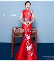 2016 new Chinese cheongsam embroidered retro fishtail dress party shou