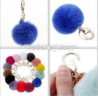 Trendy rex rabbit ball decoration handmade accessory heart shaped fur ball