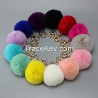 Popular key ring and bag accessory knitted cashmere hats with fur ball rabbit fur pompom