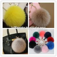 Real fox fur pom pom accessory ball keychain