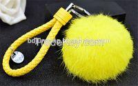 Real rabbit fur  pom pom key chain accessory