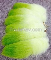 Colorful furry tail accessory women fashion bag pendant real fox tail keychain