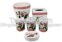 flower decal ceramic bathroom set of 6