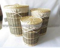 wooden wicker tall storage basket set of 3