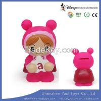 Cute small pink cartoon shape plastic coin box/cash box/coin saver