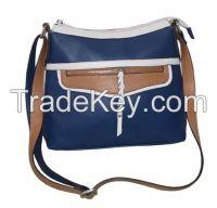 Navy/tan/white multi color cross body shoulder bag