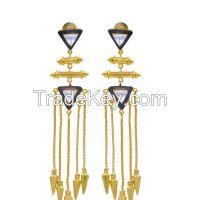 Chandelier Earrings with Golden Drops