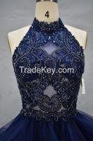 evening dress romantic handmade beading sleeveless sexy top high neck