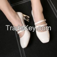 Cheapest Shoes 2016 Spring 4 Colors Hot Wholesale High Quality PU Leather Square Toe Women Casual Thick heel shoes White