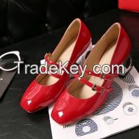 Cheapest Shoes 2016 Spring 4 Colors Hot Wholesale High Quality PU Leather Square Toe Women Casual Thick heel shoes Red