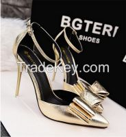 European Sexy BowknotStiletto High Heels Pumps Gold