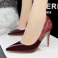 Hot Sales European High Quality Snake Mosaic Side Empty Pointed Pumps