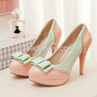 Cheapest Pumps Plus Size Fashion Sweetly Hit Color Bowknot Pumps Pink