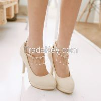Cheapest Pumps Plus Size Newly Sweetly Flower Chain Hasp Pumps Apricot