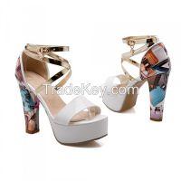 Plus Size European Color Pattern Block Heels Sandals