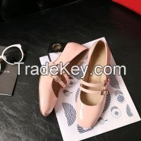 Cheapest Shoes 2016 Spring 4 Colors Hot Wholesale High Quality PU Leather Square Toe Women Casual Thick heel shoes Pink