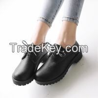 Cheapest Shoes 2016 Spring Hot Wholesale PU Leather Round Toe Women Casual Flat Shoes Ladies Lacing Loafers Black