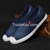 LEYO summer man shoes navy, light blue denim casual shoes classic slip-on sneaker