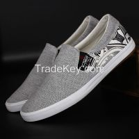 LEYO summer man shoes navy, black color block canvas casual shoes classic slip-on sneaker