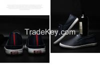 LEYO summer man shoes navy, black, white punch pu casual shoes classic slip-on sneaker