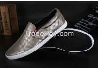 LEYO 2016 summer man shoes solid color punch Pu casual shoes fashion slip-on sneaker
