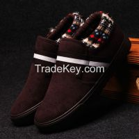 LEYO winter man shoes fake leather with textile collar casual shoes fashion slip-on sneaker