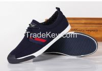 LEYO summer man shoes black or navy color block twill casual shoes fashion lace-up sneaker