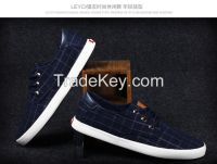 LEYO summer man shoes black or navy checked canvas with Pu heel casual shoes fashion lace-up sneaker