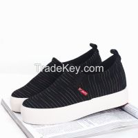 LEYO 2016 summer woman casual shoes stripe canvas platform height increasing inside slip-on sneaker
