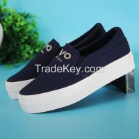 LEYO 2016 summer woman casual shoes shiny word canvas platform slip-on sneaker