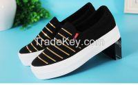 LEYO 2016 summer woman casual shoes shiny stripe canvas platform slip-on sneaker