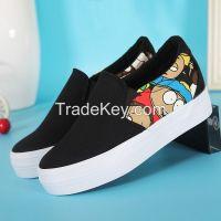 LEYO 2016 summer woman casual shoes print canvas platform height increasing inside slip-on sneaker
