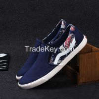LEYO summer man shoes canvas print fabric casual shoes fashion slip-on sneaker