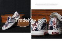 LEYO summer man shoes graffti print fabric casual shoes fashion slip-on sneaker