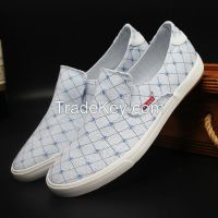 LEYO summer man shoes checked fabric casual shoes fashion slip-on sneaker