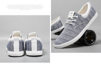 LEYO summer man shoes grey or navy stripe twill casual shoes lace-up sneaker
