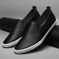 LEYO summer man shoes black and white Pu casual shoes slip-on sneaker