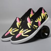 LEYO summer man shoes white,navy,black banana print,casual shoes classic slip-on sneaker