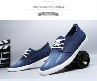 LEYO summer man shoes navy, light blue denim casual shoes classic lace-up sneaker