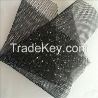 2017 fashion shrink foil print mesh fabric for dress