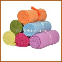 wholesale polyester colorful polar fleece blankets for travelling
