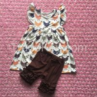 YJ-024 2016 Wholesale persnickety ruffle shorts outfits