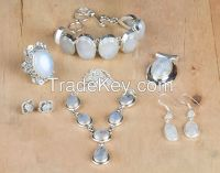 Wholesale Natural Handmade Sterling Silver Rainbow Moonstone Gemstone Jewelry Set