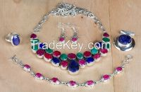 Wholesale Sterling Silver Ruby, Emerald Gemstone Jewelry Set