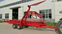 bale bundle transportation trailer for farm tractor with hydraulic self loading and self unloading