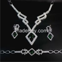 Necklace Earring Ring Bracelet Imitation Diamond Jewelry Sets
