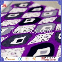 Guangzhou pvc artificial printed leather fabric for making bags