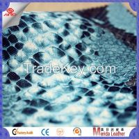 snake pattern embossed artificial leather pvc leather fabric for making bags