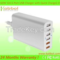 Quick Charge 2.0, 60W 6 port USB Fast Charger Wall/Travel Power Adaptor with Qualcomm Technology for Apple iPhone 6s 6s plus 5s 5c 4s and Tablets