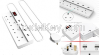 New Arrival 2016 UK Power Strip Surge Protector 4 AC Outlets Extension Sockets with 4 USB Ports for Apple iPhone 6s 6s plus 6 6plus 5s 5c 4s